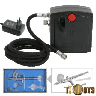 Airbrush & Mini Compressor Kit Dual Action Air Brush (0.3mm) Set